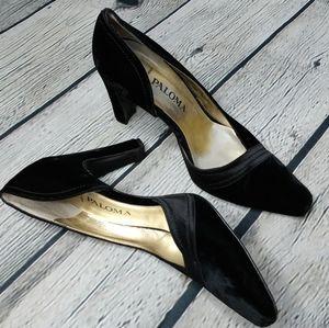 Vintage Paloma Black Velvet Classy Chic Heels